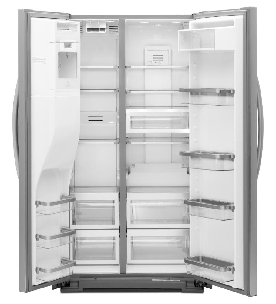 Monochromatic Stainless Steel Kitchenaid(r) 23 Cu. Ft. Counter Depth  Side By Side Refrigerator, Architect(r) Series Ii