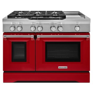 Kitchenaid48'' 6-Burner with Griddle, Dual Fuel Freestanding Range, Commercial-Style - Signature Red