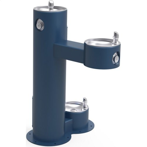 Elkay Outdoor Fountain Bi-Level Pedestal with Pet Station, Non-Filtered Non-Refrigerated, Freeze Resistant, Blue