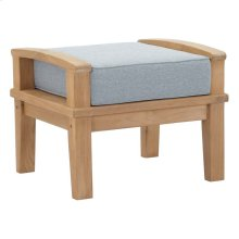Marina Outdoor Patio Teak Ottoman in Natural Gray