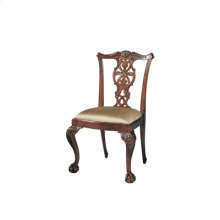 CARVED POLISHED MAHOGANY FINIS H CHIPPENDALE SIDE CHAIR, CABR IOLE LEG, NEUTRAL UPH