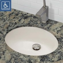 Carlyn ® Oval Biscuit Vitreous China Undermount Lavatory With Overflow - Ceramic Biscuit