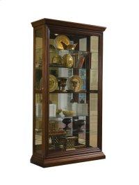 Edwardian 5 Shelf Sliding Door Curio Cabinet in Oak Brown Product Image