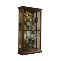 Edwardian 5 Shelf Sliding Door Curio Cabinet in Oak Brown Product Image