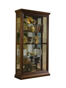 Edwardian 5 Shelf Sliding Door Curio Cabinet in Oak Brown