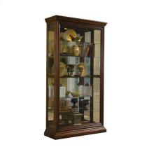 Edwardian 5 Shelf Sliding Door Curio Cabinet in Oak Brown