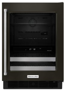"24"" Stainless Steel Beverage Center with SatinGlide® Metal-Front Racks - Black Stainless"