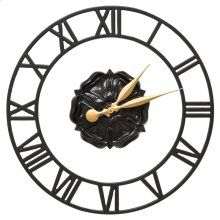 "Rosette Floating Ring 21"" Indoor Outdoor Wall Clock - Black"