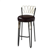 Iron Ore Finished Counter Stool with Gold Gilding, Dark Burgandy Leather Seat