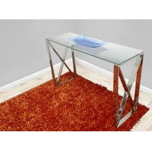 Tempered Glass Console With stainless Steel Base
