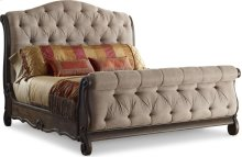 Casa Veneto Upholstered Sleigh Bed (Queen)