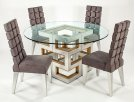 """Dining Table Base with Glass 28x28x30"""", glass dia.60"""" Product Image"""