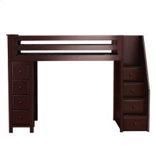 All in One Staircase Loft Bed Storage Espresso