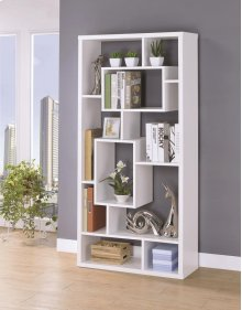 - Ten shelf bookcase finished in white - Constructed with MDF, particle board, and engineered veneer- Also available in black (#800262)
