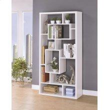 Modern White Asymmetrical Cube Bookcase