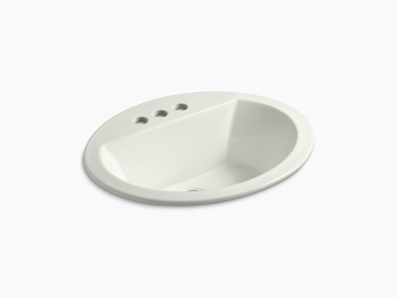 "Dune Oval Drop-in Bathroom Sink With 4"" Centerset Faucet Holes"