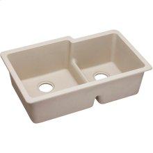 "Elkay Quartz Classic 33"" x 20-1/2"" x 9-1/2"", Offset Double Bowl Undermount Sink with Aqua Divide, Putty"