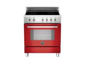 30 4-Induction Zones, Electric Self-Clean oven Red