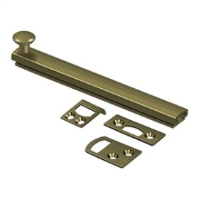 """6"""" Surface Bolt, Concealed Screw, HD - Antique Brass"""