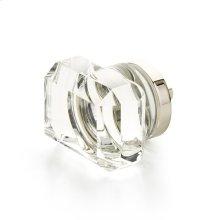 "City Lights, Rectangular Glass Knob, Polished Nickel, 1-3/4"" dia"
