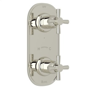 """Polished Nickel Perrin & Rowe Holborn 1/2"""" Thermostatic/Diverter Control Trim with Holborn Cross Handle"""