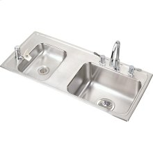 "Elkay Lustertone Classic Stainless Steel 37-1/4"" x 17"" x 6-1/2"", Double Bowl Drop-in Classroom ADA Sink Kit"