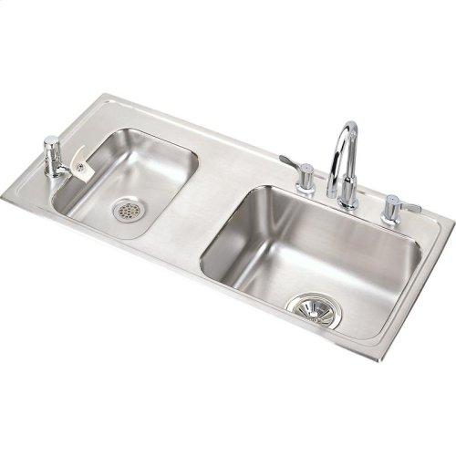 "Elkay Lustertone Classic Stainless Steel 37-1/4"" x 17"" x 4"", Double Bowl Drop-in Classroom ADA Sink Kit"
