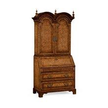 Queen Anne Pollard Veneer Bureau Cabinet (Wooden Doors)