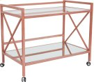 Glenwood Park Glass Kitchen Serving and Bar Cart with Rose Gold Frame Product Image