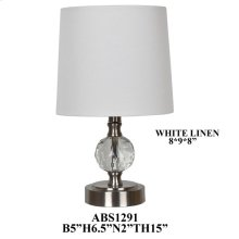 """16"""" TH CRYSTAL ACCENT LAMP, WHITE LINEN 8X9X8. 4 PK/ 2.83'"""