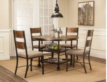 Sunset Trading 5 Piece Rustic Elm Industrial Dining Table Set