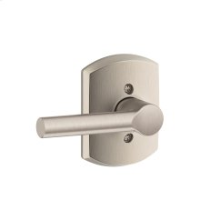 Broadway Lever with Greenwich trim Non-turning Lock - Satin Nickel