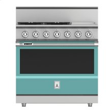 "36"" 4-Burner Dual Fuel Range with 12"" Griddle - KRD Series - Bora-bora"