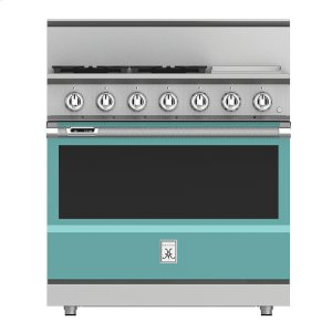 "Hestan36"" 4-Burner Dual Fuel Range with 12"" Griddle - KRD Series - Bora-bora"