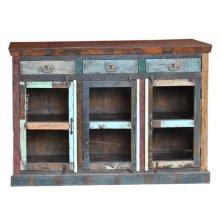 Reclaimed wood three drawer three glass door sideboard