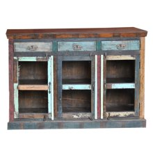 Reclaimed wood three drawer three glass door sideboard