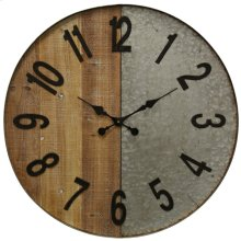 Wooden and Galvanized Metal Wall Clock