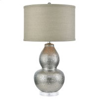 Dimples Table Lamp In Silver-plated Ceramic and Acrylic With Grey Burlap Hardback Shade - Small Product Image