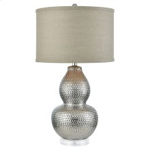 Dimples Table Lamp In Silver-plated Ceramic and Acrylic With Grey Burlap Hardback Shade - Small