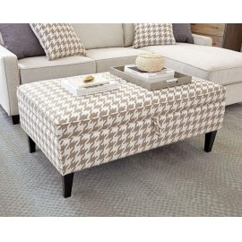 Transitional Beige and White Ottoman