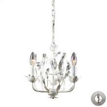 Circeo 3-Light Chandelier in Antique White with Crystal - Includes Adapter Kit