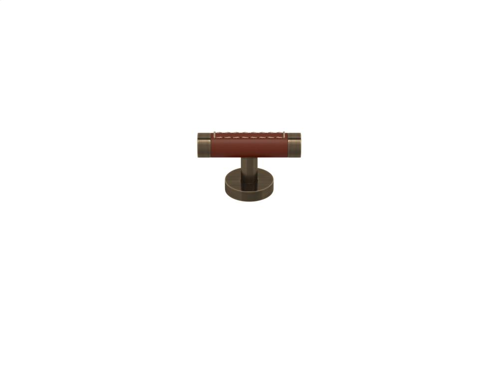 Barrel Stitch Out Cabinet T-bar Fixed Dead Recess Leather In Chestnut And Fine Antique Brass