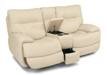 Evian Leather Power Reclining Loveseat with Console