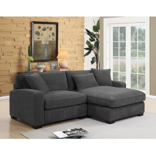 Emerald Home Repose 2pc Sectional-lsf Chair-rsf Chaise W/3 Pillows Charcoal U4173m-11-12-03-k