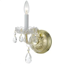 Traditional Crystal1 Light Clear Crystal Brass Sconce