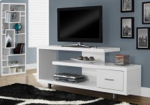 "TV STAND - 60""L / WHITE WITH 1 DRAWER"