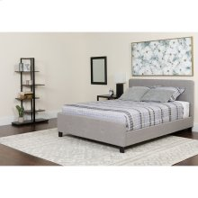 Tribeca Queen Size Tufted Upholstered Platform Bed in Light Gray Fabric