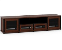Synergy Solution 245, Quad-Width AV Cabinet, Walnut with Black Posts