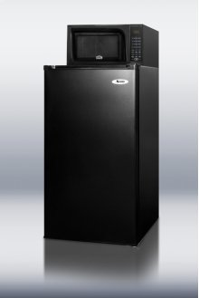 Compact refrigerator-freezer-microwave combination in slim width and black exterior