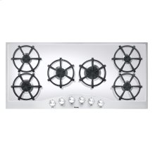 """Stainless Steel/White Glass 45"""" Gas Cooktop - DGCU (45"""" wide, six burners)"""